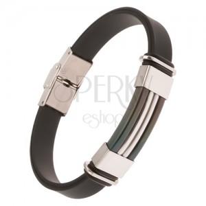 Fekete színű gumi karkötő, fekete acél tábla ezüst színű sávval