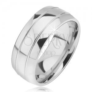 Lekerekített acél gyűrű, két keskeny véset