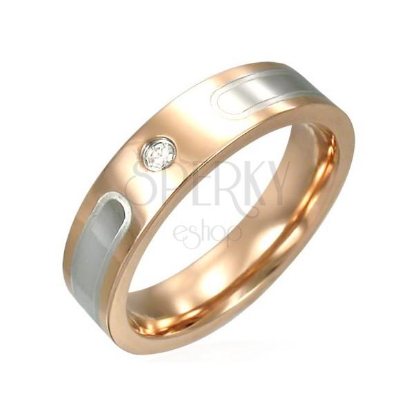 Bronz színű gyűrű sebészeti acélból - ezüst sáv, cirkónia
