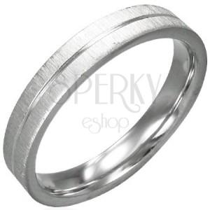 Szatén acél gyűrű, fényes középső sáv