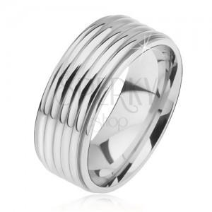 Fényes egyenes gyűrű 316L acélból, lekerekített sáv