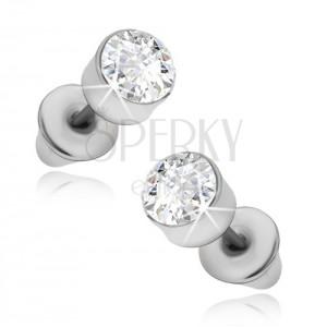 Fülbevaló - kerek ezüst színű foglalat átlátszó kővel
