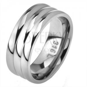 Acél gyűrű, egyenes felszín, három karika látszata