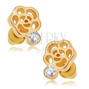 Beszúrós fülbevaló arany színben, virágkörvonal, átlátszó cirkónia