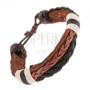 Bőr karkötő, sötétbarna és fekete fonat, fekete és fehér zsinórok