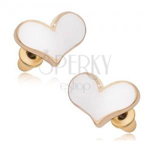 Arany színű fülbevaló, aszimetrikus szívek fehér fénymázzal