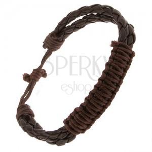 Csokoládébarna bőr karkötő, két fonat, fonott barna zsinór