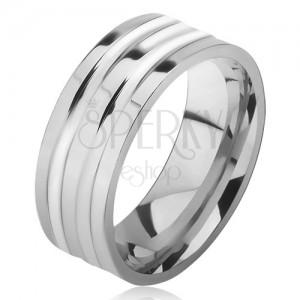 Acél ezüst színű gyűrű, fényes, két vastagabb sáv