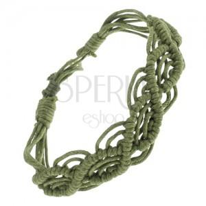 Fonott karkötő zöld zsinórokból, hullámminta