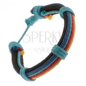 Bőr karkötő - fekete sáv, többszínű fonalak, kék zsinór