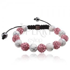 Shamballa karkötő, rózsaszín cirkóniás és fehér márványos gyöngyök