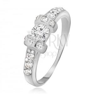 Ezüst gyűrű - két kiálló kör, átlátszó kerek cirkóniák