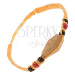 Sárga színű zsinóros karkötő, fa henger, színes gyöngyök