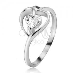 Ezüst gyűrű, szívkörvonal átlátszó cirkóniával