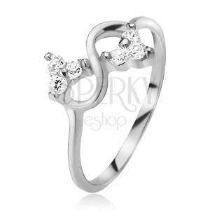 Gyűrű 925 ezüstből, végtelen szimbólum, átlátszó csiszolt kövek