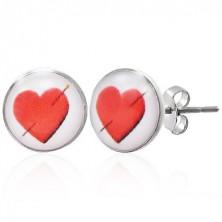 Fülbevaló acélból - átszúrt piros szív
