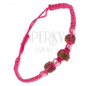 Karkötő rózsaszín zsinórokból, fa hengerek és átlátszó gyöngyök
