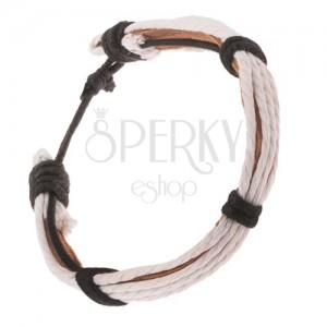 Bőr karkötő - világosbarna sáv, fehér és fekete zsinórok
