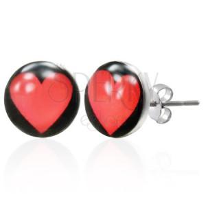 Acél fülbevaló - piros szív a fekete alapon