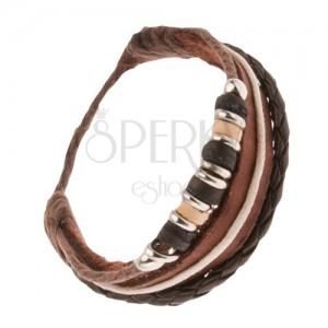Bőr multikarkötő - barna sáv, fonat, zsinórok gyöngyökkel