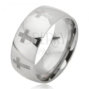 Acél gyűrű - fényes ezüst színű karika, matt latin kereszt