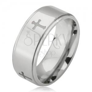 Fényes acél gyűrű - ezüst színű karika, kivésett matt kereszt
