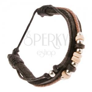 Multikarkötő - sötétbarna bőrsáv, fekete és barna zsinór, gyöngyök