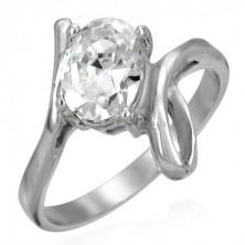 Gyűrű 316L acélból nagy átlátszó cirkóniával és hurokkal