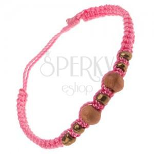 Rózsaszín zsinóros karkötő, barna fa és arany színű üveggyöngyök