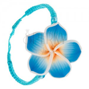 Türkizkék zsinóros karkötő, fonott, sárga-kék fimo virág