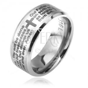 Gyűrű sebészeti acélból - ezüst, lemetszett szélek, Miatyánk imaszöveg