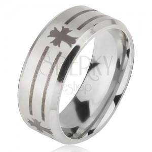 Matt acél gyűrű - ezüst színű karika, sáv és kereszt lenyomat