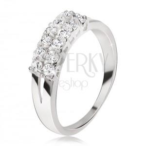 Gyűrű 925 ezüstből - kettős szárak, két átlátszó cirkóniás sáv