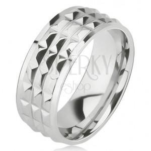 Fényes acél gyűrű - ezüst karika, díszített gyémánt lapocskák