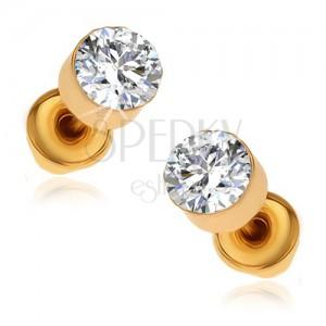 Fülbevaló arany színű kvitelben, kerek átlászó kövek a fényes foglalatban