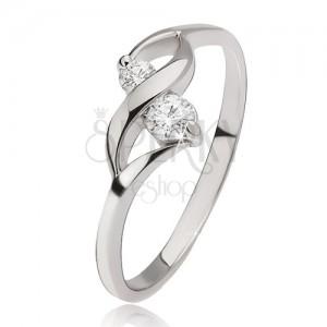 Ezüst gyűrű - fényes hullám, két kerek átlátszó kő a foglalatokban