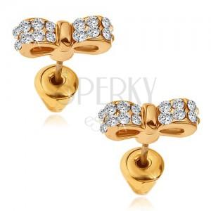 Arany színű fülbevaló, csillogó cirkóniás cicanyakkendő
