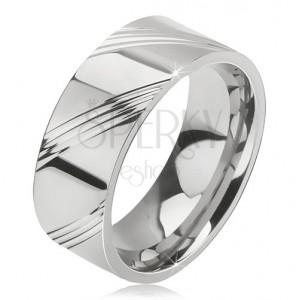 Sebészeti acél gyűrű - fényes karika, négy ferde véset