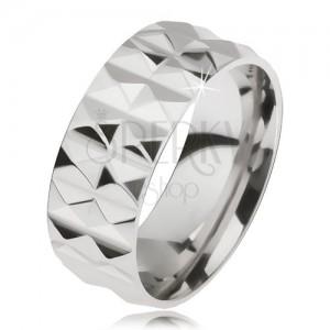 Csillogó acél gyűrű ezüst színben gyémántmintával, két sorban