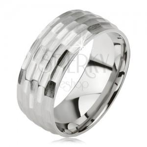 Matt gyűrű sebészeti acélból - ezüst, apró ovális kivésett minta