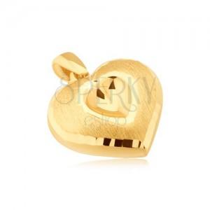 Arany medál - szimmetrikus 3D szív, kimélyített szív, szatén felszín