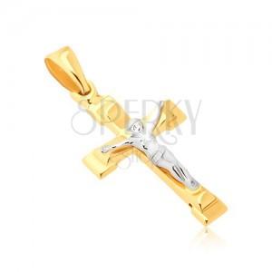 Medál 14K aranyból - csillogó mankós kereszt keresztre feszített Krisztussal