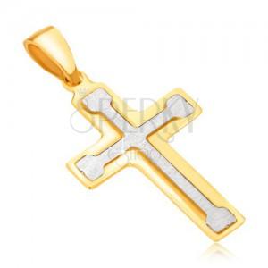 Medál 14K aranyból - kétszínű, latin kereszt mankóssal a közepén