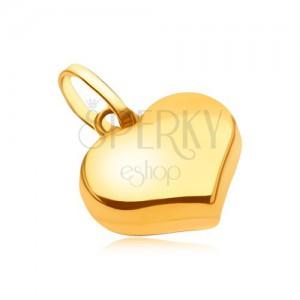 Medál 14K sárga aranyból - csillogó sima szabályos szív