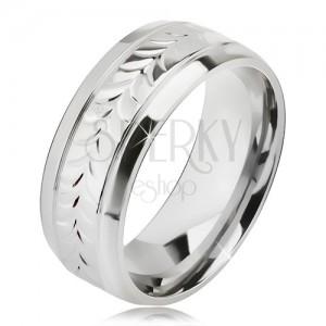 Fényes acél gyűrű, vésetek, kettős levélminta