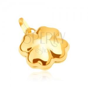 Fényes arany medál - háromdimenziós szerencséthozó négy levél