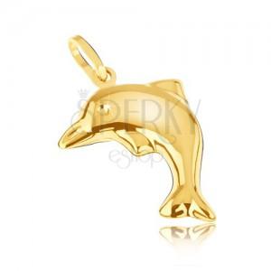 Medál 14K sárga aranyból - háromdimenziós csillogó ugró delfin
