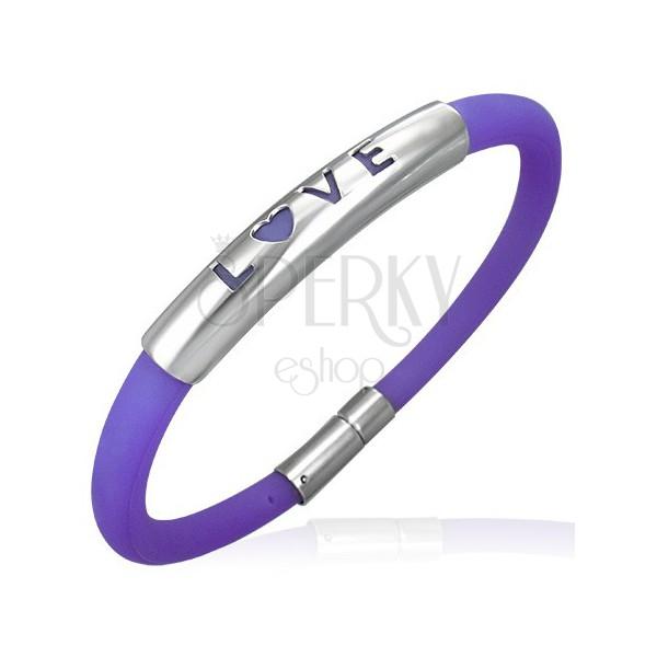 Kaucsuk karkötő lila színárnyalatban - fém tábla egy LOVE felirattal