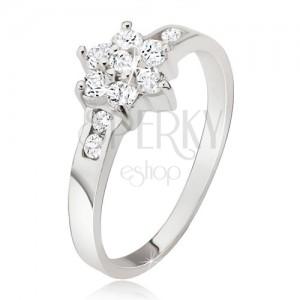 Gyűrű 925 ezüstből, átlátszó cirkóniás virág