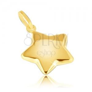 Medál 14K sárga aranyból - lekerekített csillogó ötágú csillag
